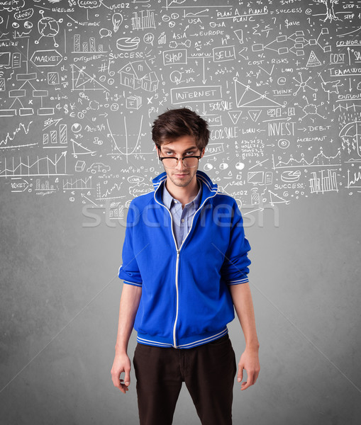 молодые красивый парень рисованной иконки белый Сток-фото © ra2studio