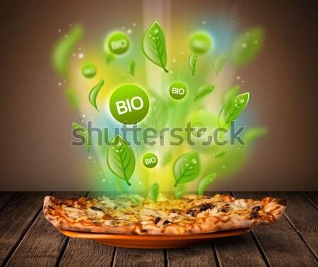 Sağlıklı biyo yeşil plaka gıda Stok fotoğraf © ra2studio