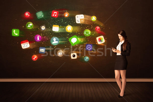 Business woman sitting in office chair with tablet and colorful  Stock photo © ra2studio
