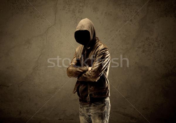 Kapucnis sötét gyanús érett férfi városi Stock fotó © ra2studio