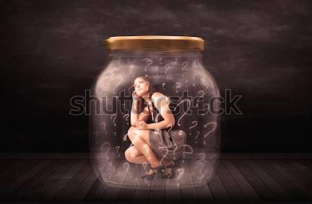 üzletasszony csapdába esett bögre üveg szomorú tini Stock fotó © ra2studio