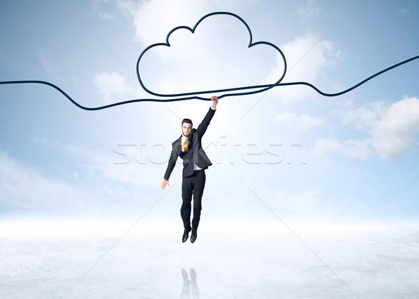 Suspendu affaires nuage corde aider succès Photo stock © ra2studio