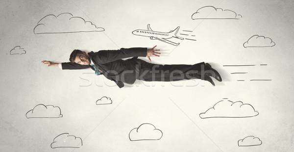 Wesoły pływające niebo chmury Zdjęcia stock © ra2studio