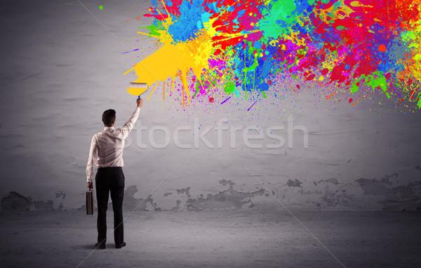 Eladó személy festmény színes folt elegáns Stock fotó © ra2studio
