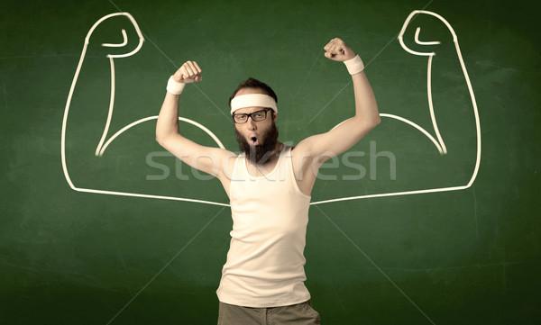 тощий студент мышцы молодым человеком борода очки Сток-фото © ra2studio