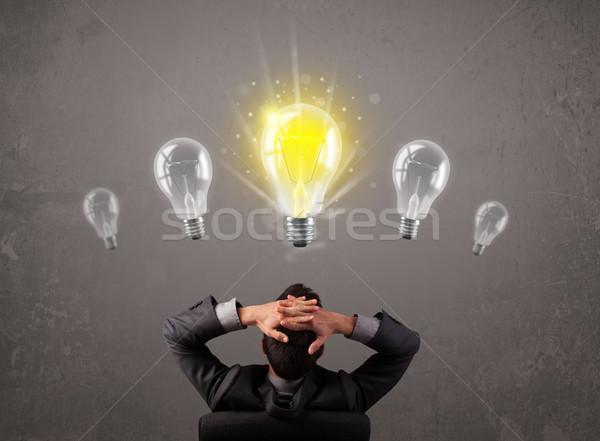 ストックフォト: 事業者 · アイデア · 電球 · 明るい · ビジネス · 光