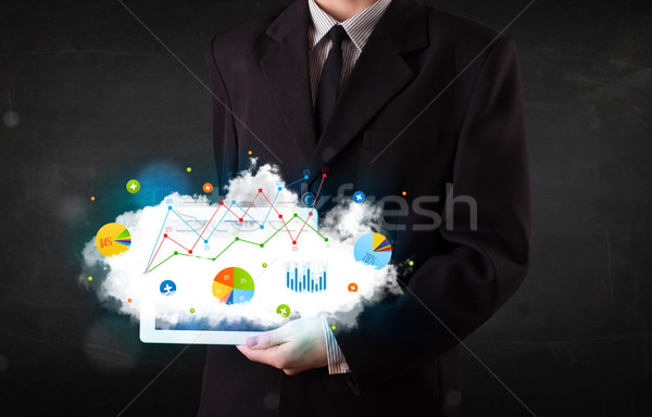 Stockfoto: Persoon · touchpad · wolk · technologie · charts