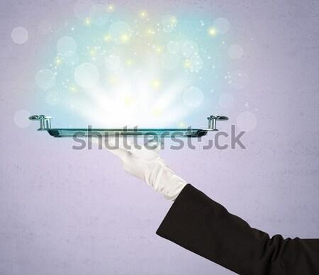 Parlak ışıklar tepsi garson parıltı Stok fotoğraf © ra2studio