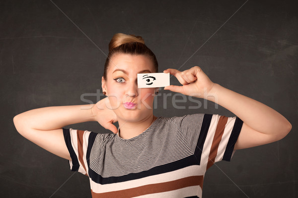 Stupide regarder dessinés à la main oeil papier Photo stock © ra2studio