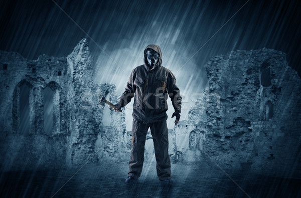 Ruined wallpaper with hazard man Stock photo © ra2studio