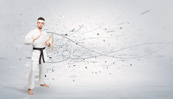 Karate man doing karate tricks with chaotic concept Stock photo © ra2studio