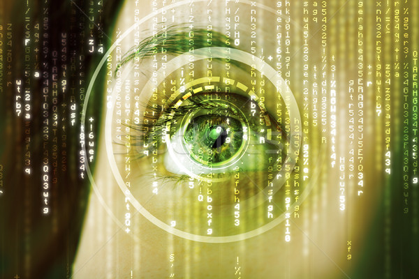 Modernen Frau Matrix Auge abstrakten Technologie Stock foto © ra2studio