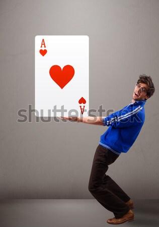 Moço vermelho coração ás atraente Foto stock © ra2studio