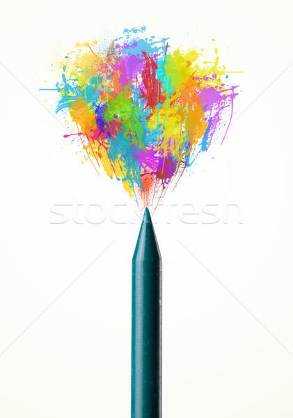 Színes festék csobbanások ki zsírkréta iskola Stock fotó © ra2studio