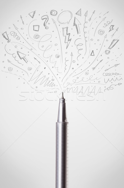 Pen drawing sketchy arrows Stock photo © ra2studio