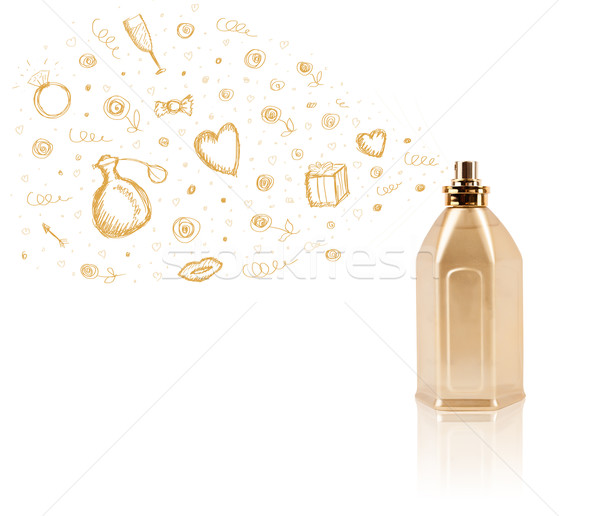 sketches coming out from beautiful perfume bottle Stock photo © ra2studio