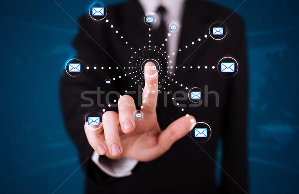 Zakenman virtueel messaging type iconen Stockfoto © ra2studio