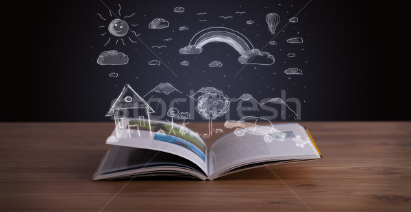 Stok fotoğraf: Açık · kitap · manzara · ahşap · güverte · aile
