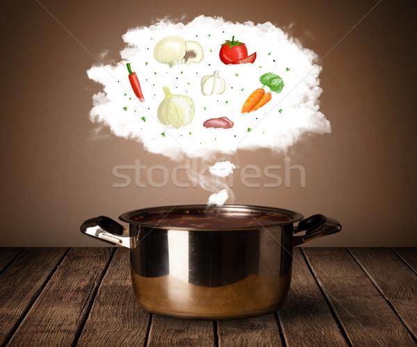 Stockfoto: Groenten · damp · wolk · stoom · boven
