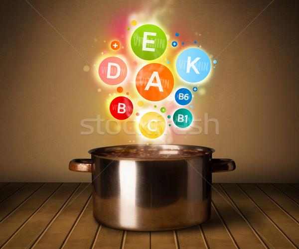 Színes vitaminok ki lábas egészséges étel fém Stock fotó © ra2studio
