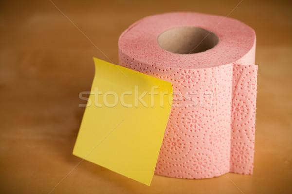 Vuota nota carta igienica rotolare nota adesiva carta Foto d'archivio © ra2studio