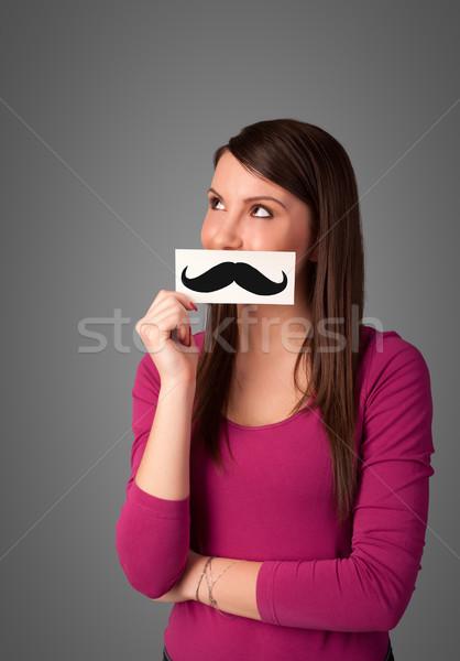Gelukkig cute meisje papier snor Stockfoto © ra2studio