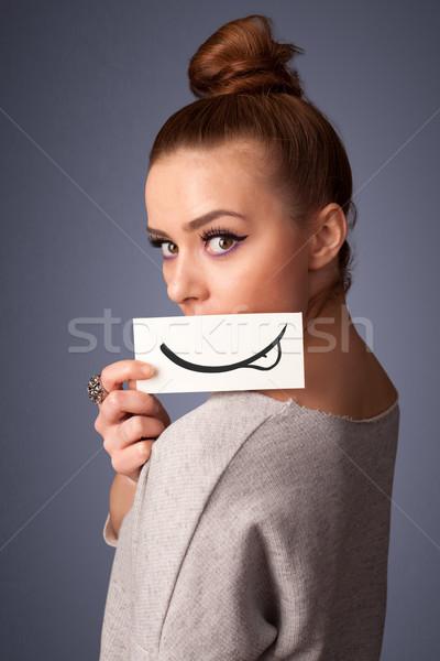 Stok fotoğraf: Güzel · genç · kız · beyaz · kart · gülümseme