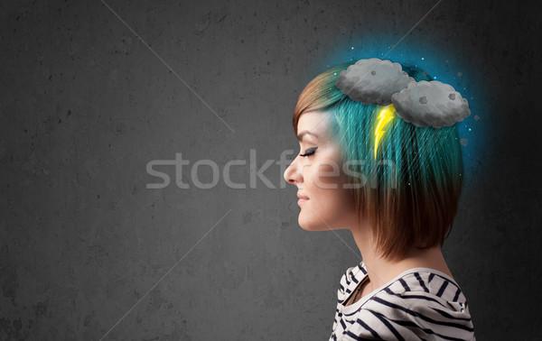 Jong meisje onweersbui bliksem hoofdpijn illustratie business Stockfoto © ra2studio