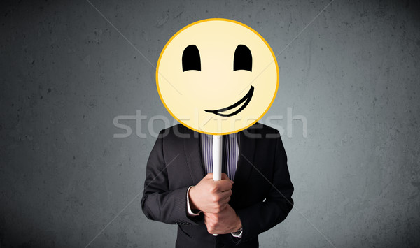 Foto stock: Empresário · rosto · sorridente · emoticon · amarelo · cabeça