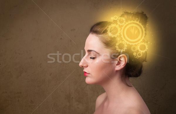 Zeki kız düşünme makine kafa örnek Stok fotoğraf © ra2studio