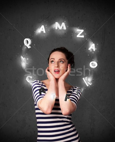 Pensando carta alrededor cabeza Foto stock © ra2studio