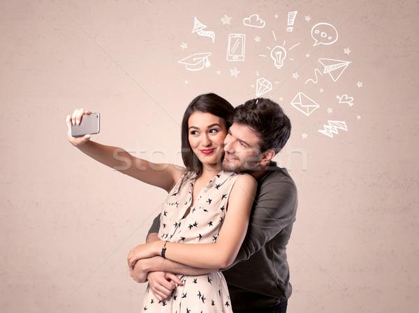 Pareja toma pensamientos ilustrado amor Foto stock © ra2studio