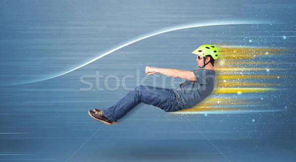 Genç sürücü hayali hızlı araba bulanık Stok fotoğraf © ra2studio