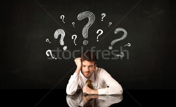 Сток-фото: сидят · бизнесмен · депрессия · бизнеса · человека