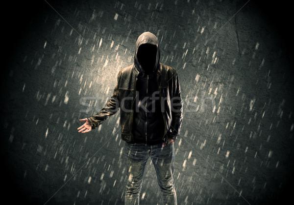 Ismeretlen áll sötét férfi bőrdzseki látható Stock fotó © ra2studio