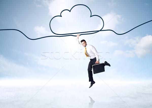 Opknoping zakenman wolk touw hand ruimte Stockfoto © ra2studio