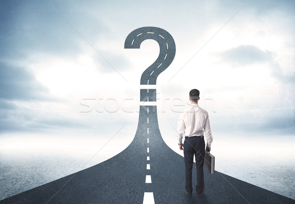 ストックフォト: 事業者 · 道路 · 疑問符 · にログイン · ビジネス · 車