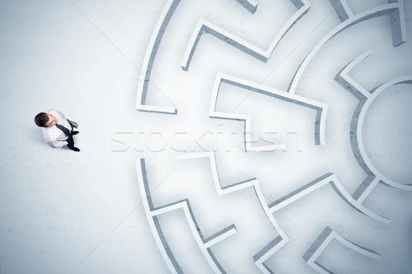 деловой человек глядя лабиринт напряженный Сток-фото © ra2studio