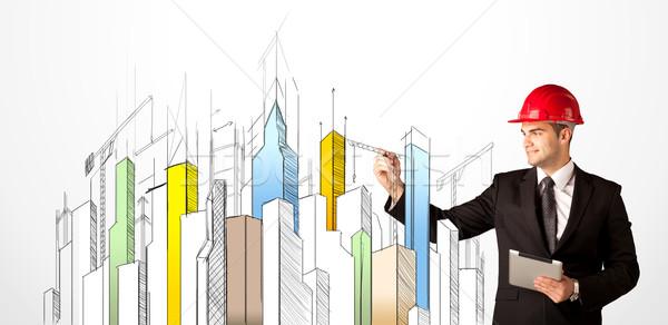 Stad zicht jonge bouwplaats werknemer Stockfoto © ra2studio