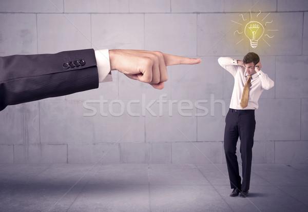 Főnök eladó személy ötlet hatalmas kéz Stock fotó © ra2studio