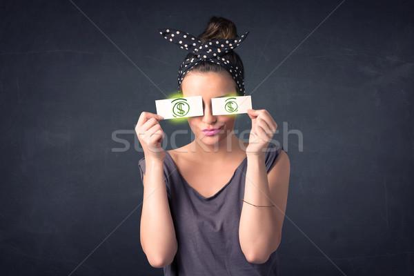 若い女の子 紙 緑 ドル記号 顔 ストックフォト © ra2studio