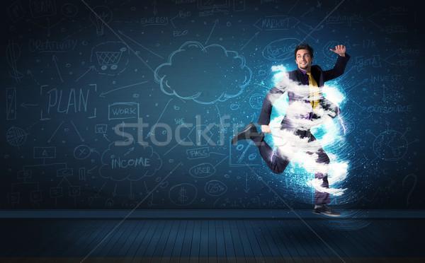 Foto stock: Feliz · hombre · de · negocios · saltar · tormenta · nube · alrededor