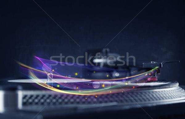 Draaitafel spelen vinyl abstract lijnen Stockfoto © ra2studio