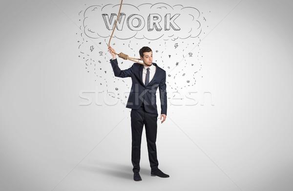 Kétségbeesett üzletember öngyilkosság kötél fiatal öltöny Stock fotó © ra2studio