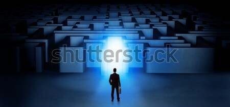 Businessman seeing the light at the end of something Stock photo © ra2studio
