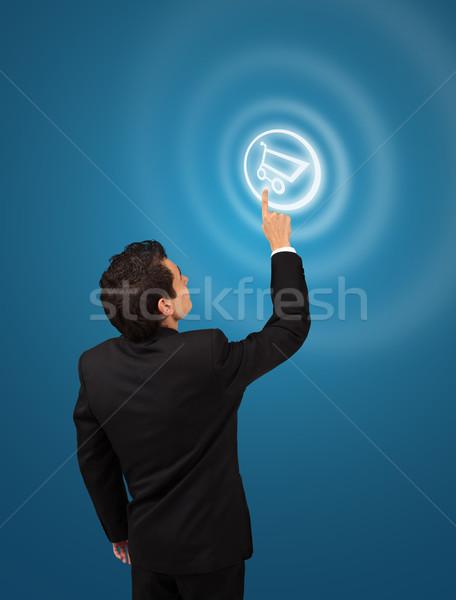 üzletember kisajtolás bevásárlókocsi gomb futurisztikus digitális technológia Stock fotó © ra2studio