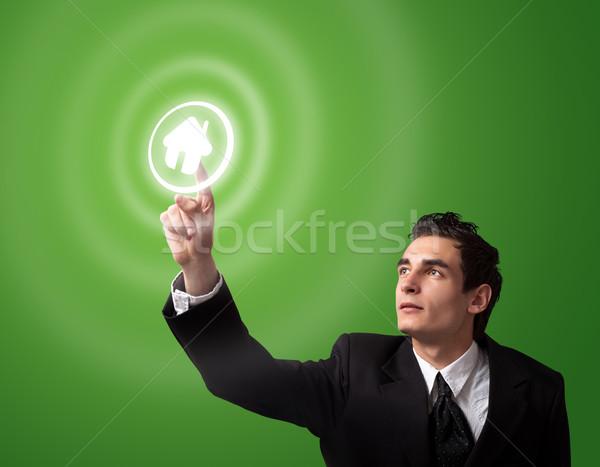 деловой человек кнопки домой бизнеса стороны Сток-фото © ra2studio