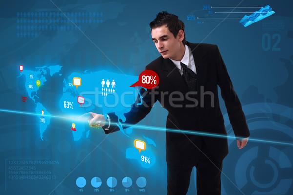 Zdjęcia stock: Biznesmen · social · media · przycisk · cyfrowe · Pokaż