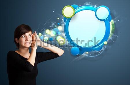 аннотация современных речи пузырь молодые деловой женщины Сток-фото © ra2studio