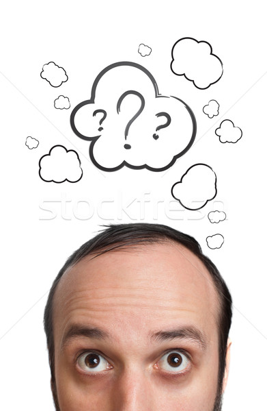 Funny Young guy with question mark over his head Stock photo © ra2studio